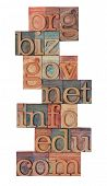 collage of popular internet domain extensions (org, biz, gov, net, info, edu, com) - vintage wooden
