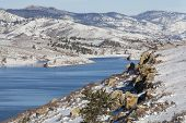 Horsetooth Reservoir in Fort Collins, Colorado with a view of Lory State Park and Greyrock - winter