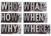 brainstorming or decision making questions - who, what, where, when, why, how - a collage of isolate
