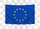 Hanging Flag Of Europe. European Union. European Flag Concept. poster