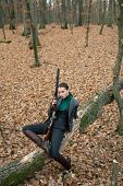 Successful Hunt. Hunting Sport. Female Hunter In Forest. Woman With Weapon. Target Shot. Girl With R poster