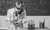 Life Under Microscope. Science Experiments In Bilogy Lab. Little Scientist Work With Microscope. Che poster
