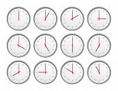 An image of 12 clocks with different time