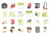 Home Appliances Icon Set. Cartoon Set Of Home Appliances Icons For Web Design Isolated On White Back poster