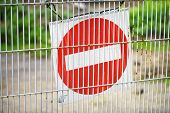Red and White British No Entry Road Sign with Steel Fence, Red Stop Road Sign, Traffic Sign Prohibit poster