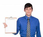 Clipboard Presentation - Caucasian Businessman