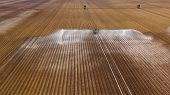 Aerial View Center Pivot Agriculture Irrigation Machine Of Crops. An Irrigation Pivot Watering Agric poster