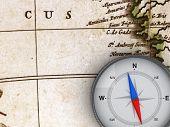 Kompass auf die Karte - 3d-Objekt-Serie