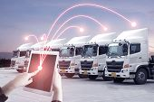 Multiple Exposures Of Business Shipping, Logistics, Industry Background Overall. New Truck Fleet Wit poster