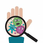 Vector Hand With Germs And Bacteria Isolated On White Background.. Magnifying Glass Shows Dirty Huma poster