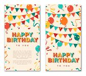 Happy Birthday Greeting Cards, Vertical Banners With Retro Typography Design. Vector Illustration. 3 poster
