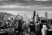 Panoramic Black And White View Of Chicago During A Sunset. Travel Destination. Lake Michigan In The  poster