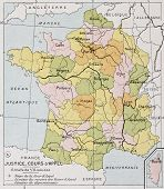 France Appellate Court old map. By Paul Vidal de Lablache, Atlas Classique, Librerie Colin, Paris, 1894