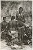 New Caledonian women in a hut. Created by Loudet and Laplante after photo of unknown author, published on Le Tour Du Monde, Paris, 1867
