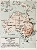 Australia old map. By Paul Vidal de Lablache, Atlas Classique, Librerie Colin, Paris, 1894