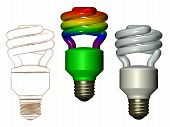 Rainbow white and sketched compact fluorescent lamp