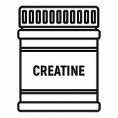 Creatine Sport Nutrition Icon. Outline Creatine Sport Nutrition Vector Icon For Web Design Isolated  poster