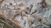 Aerial Top View Of Crushing Machinery, Conveying Crushed Granite Gravel Stone In A Quarry Open Pit M poster