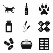 Vet Icons Set. Simple Set Of 9 Vet Icons For Web Isolated On White Background poster