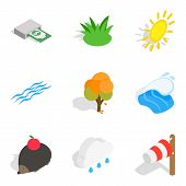 Ecologically Friendly Icons Set. Isometric Set Of 9 Ecologically Friendly Icons For Web Isolated On  poster