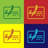 Color Signed Document Line Icon Isolated On Color Backgrounds. Pen Signing A Contract With Signature poster
