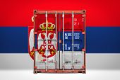 The Concept Of  Serbia Export-import, Container Transporting And National Delivery Of Goods. The Tra poster