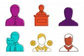 Politic Man Icon Set. Color Outline Set Of Politic Man Icons For Web Design Isolated On White Backgr poster