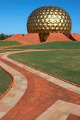 Way To Golden Ball Of Temple In Auroville, India