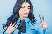 Girl Makeup Face Hold Tweezer For Eyelash Extension. Professional Makeup Artist. Cosmetic Tweezer To poster