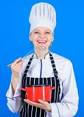 Designed For Culinary Enthusiasts. Happy Cook Holding Pot And Work Tool. Professional Chef Smiling W poster