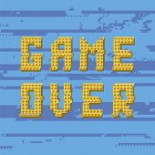 Retro Pixel Game Over Sin On Glitch Blue Banner. Gaming Concept. Video Game Screen. poster