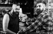 Hipster Brutal Bearded Man Drinking Alcohol With Friend At Bar Counter. Men Relaxing At Pub. Strong  poster