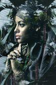 young black woman fantasy portrait double exposure poster