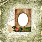 Romantic Vignette On The Vintage Background In Scrapbooking Style.