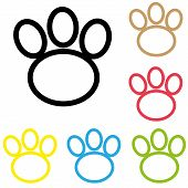 Animal Paw Icon Print Line Vector Foot Dog Cat Illustration. Colour Line Dog Paw. poster