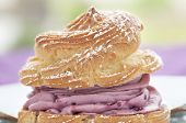 image of cream puff  - Gourmet pastry cream puff with raspberry cream - JPG