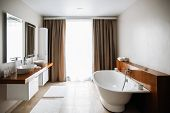 Contemporary Bathroom Interior, Great Design. Modern Bathroom Interior. Nobody Inside. Wood Texture. poster