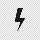 Grey Lightning Bolt Icon Isolated On Transparent Background. Flash Icon. Charge Flash Icon. Thunder  poster
