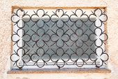 Old House Window Style With Curved Steel, Decorative Iron Gratings With Decorative Details. Abstract poster