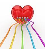 bunte Patchkabel mit einem roten Herz verbunden.