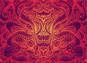 Psychedelic Trippy Colorful Fractal Mandala, Gradient Bright Red, Orange, Yellow Colors Outline, On  poster