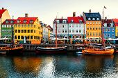 View Of Famous Nyhavn Area In The Center Of Copenhagen, Denmark In The Morning poster