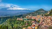 Etna Volcano And Taormina Town Aerial Panoramic View. Roofs Of A Lot Of Buldings. Smoking Snow-cappe poster