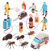 Pest Control Disinfection Service Isometric Icons Set With Ant Rat Cockroach  Professional Extermina poster