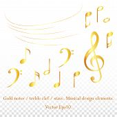 Vector Set Of Golden Glitter Music Notes.g-clef And Notes . Music Note Icon. Sparkling Gold Notes An poster