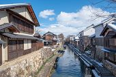 A Canal In Omihachiman City, Shiga Prefecture. There Are Old-fashioned House Along The Canal poster