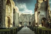 Panorama Inside The Baths Of Caracalla, Rome, Italy. It Is A Famous Landmark Of Rome. Amazing Hdr Vi poster