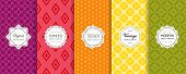 Vector Geometric Seamless Pattern Collection. Set Of Bright Colorful Background Swatches With Elegan poster