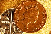 British coins on  golden backgrounds, British coins.  poster