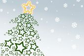 stock photo of xmas tree  - christmas tree made up of stars - JPG